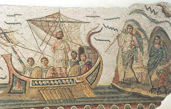 Mosaico da Dougga (Tunisia) rappresentante Ulisse e le sirene