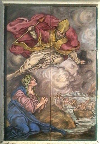 Pannello in ceramica raffigurante la leggenda di San Costanzo che appare all'anziana