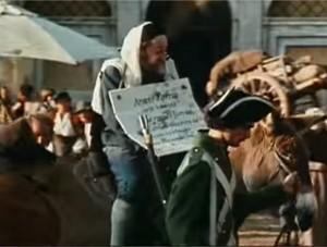 """immagine tratta del celebre film """"il marchese del Grillo"""", dove il popolo si divertiva a cuffiare il povero Aronne Piperno ebanista"""